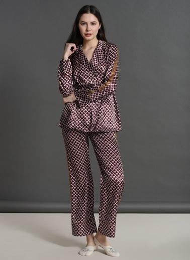 Dagi Saten Retro Gömlek Önden Bağlamalı Uzun Kollu Pijama Takımı Kırmızı